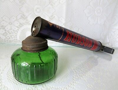 "Antique-Vintage ""HUDSON INSECT/FLY/BUG SPRAYER"" W/Green Depression Glass Bottle"