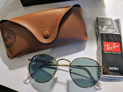 c28f9c59f4 Ray Ban RB 3447 001 Polarized Gold Round Metal Sunglasses Made in Italy