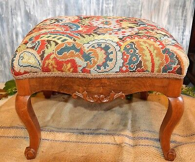 Antique Carved Wood Multicolor Needlepoint Footstool Foot Rest Queen Anne Legs