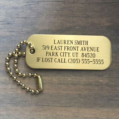 Brass Custom Engraved Luggage Tag | Brass Bag Tag | Luggage ID Tag | Bag Tag