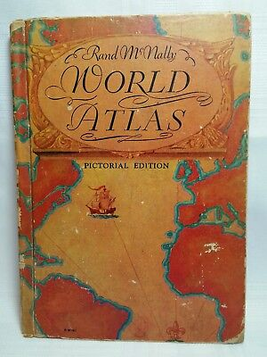 Look! 1934 Rand Macnally World Atlas - First Edition - Hardcover - 84 Years Old!