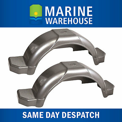 """Plastic Trailer Mudguard Pair Grey - Suits 13"""" Wheels W/ Mudflap Included 4626/2"""