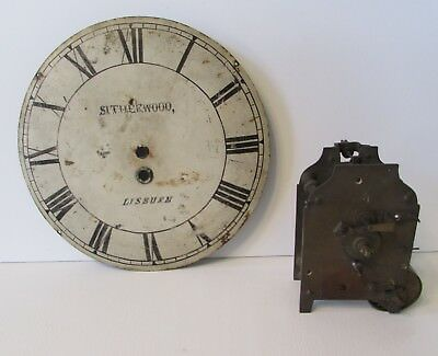 Antique English Fusee Clock Movement With Dial, Needs Work, Parts or Repair