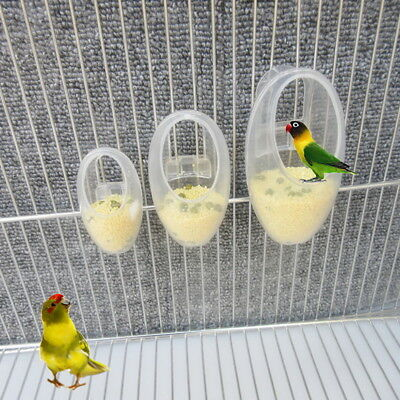 Bird Feeder Acrylic Fodder Cage Feeding Parrot Parakeet Budgies Food Container