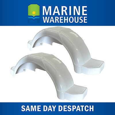 """Plastic Trailer Mudguard Pair White Suits 13"""" Wheels W/ Mudflaps Included 4627/2"""