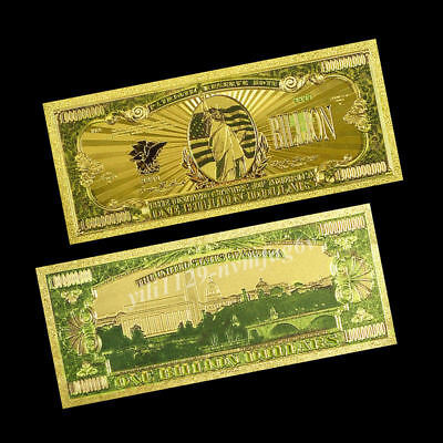 24K USA Gold Foil Dollars Home Living Party Arts Gifts One Billion Banknotes