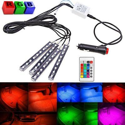 4pcs 9LED Colorful RGB Remote Control Car Interior Floor Atmosphere Light Strip
