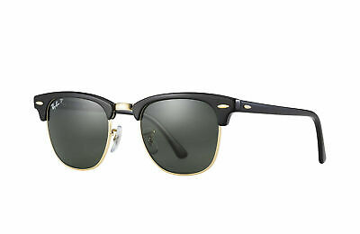 RayBan Clubmaster Classic POLARIZED Sunglasses Black Green Classic 3016 49-21