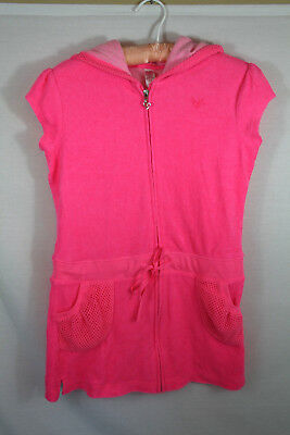 e779225aec Girls Justice Neon Pink Terry Cloth Swim Cover-Up / Zip Dress Size 12 B18