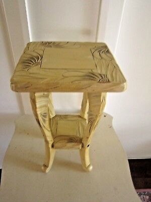 Collectable Vintage Small Handmade 2 Tier Carved Pedestal Plant Stand Side Table