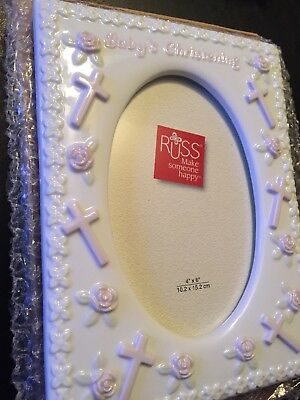 Russ Photo Frame Baby's Christening Pink