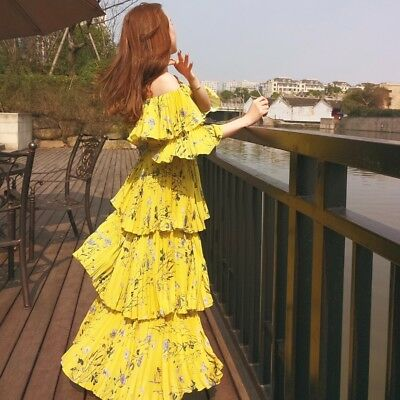 5fbca4986f Self Portrait Maxi Dress Sexy Long Women Off the Shoulder Floral Printed  Tiered