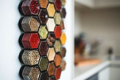30 Hexagonal Spice Jars / Magnetic Spice Rack / Empty