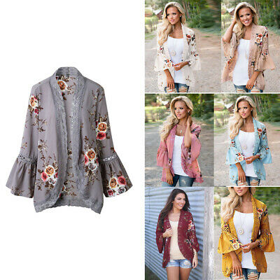 US Womens Long Sleeve Lace Floral Kimono Cardigan Blouse Casual Jacket Boho Tops