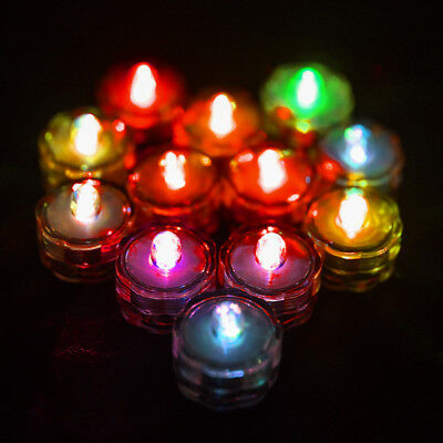 12 x LED Tea Light Candle Waterproof Submersible Candle Wedding Decor Night Lamp
