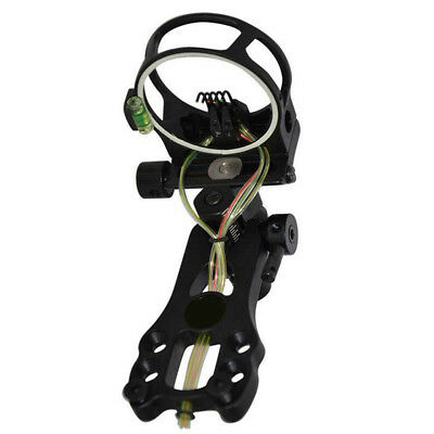 "Archery Compound Bow Sight 5 Pin W/ 0.019"" Fiber For Both Handed Shooter Hunting"