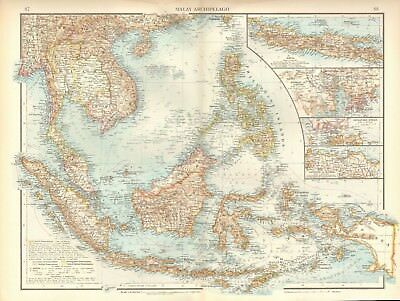1900 Antique Map- Malay Archipelago Insets Java, Canton, Singapore,celebes,timor