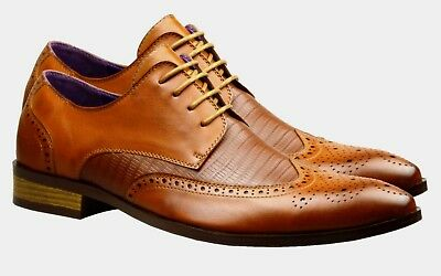 New Mens Leather Shoes Brogues Fashion Brown Tan Formal Wedding Smart Dress Size