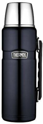 Thermos Stainless King Midnight Blue 40-Oz Beverage Bottle NEW Serving Cup Lid