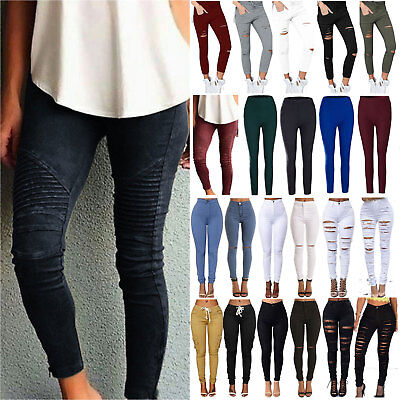 Womens Stretch Ripped Skinny High Waist Slim Denim Pants Jeans Leggings Trousers