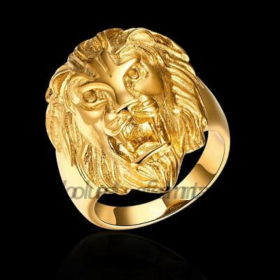 Men Ring Vintage Lion Head Rings Stainless Steel Gold Plated Size8-12 Fashion