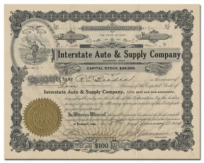 Interstate Auto & Supply Company Stock Certificate (Iowa)