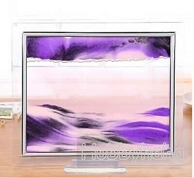 1* purple Moving Sand Glass Picture Home Office Table Decor Birthday Xmas Gift-S