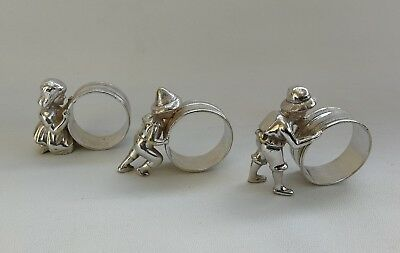Vtg Set 3 Victorian Silver Plate Figural Girl & Boys Pushing Hoops Napkin Rings