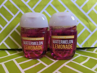 Watermelon Lemonade 2x Bath & Body Works Anti Bacterial Hand Gel RARE Scent