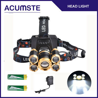 80000LM Zoom 5x T6 LED Rechargeable 18650 Headlamp Head Light Torch Charger US