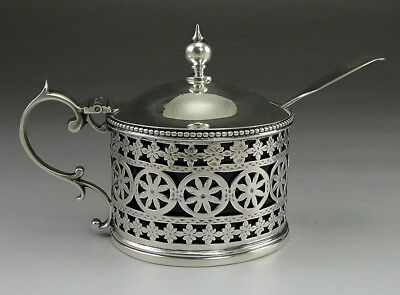 Antique 1886 English Sterling Silver Mustard Pot w/ Cobalt Glass Liner & Spoon