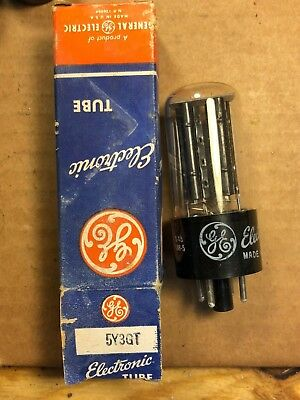 NOS NIB 1949 GE 5Y3GT Rectifier Tube Tests Perfect Black Plate Guitar Amp