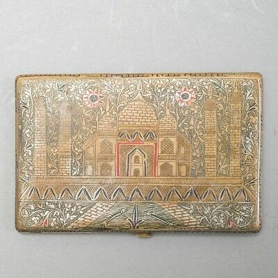 "Antique Silver Latching Cigarette Case Etched & Painted Taj Mahal Design 5"" x 3"""
