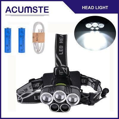 80000LM Zoomable Rechargeable 5 LED Headlamp Head Light +USB Cable+18650 Battery