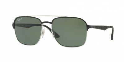 78872719b5 Authentic Ray Ban Sunglasses RB3570 9004 9A Black Silver Frames Green Lens  58mm