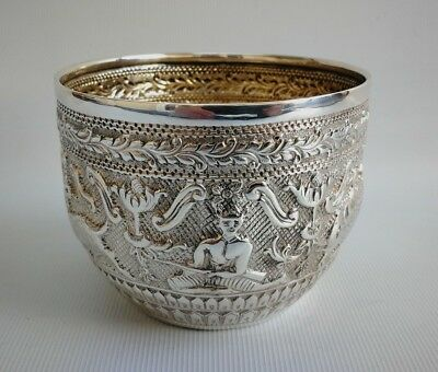 Vintage 1882 Charles Stuart Harris Solid Silver Repousse Eastern Style Bowl