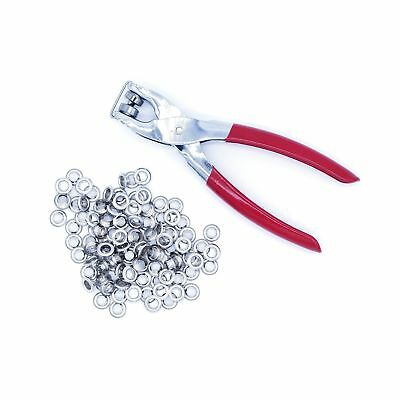 Ram-Pro 1/4 Grommet Eyelet Setter Plier, Hole Punch Tool Kit with 100 Silver ...