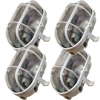 4 x Byron Oval Bulkhead Light Outdoor Garden Security Lighting  White