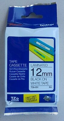 Brother P-touch Tze-231 Genuine Original Black On White 12mm Laminated New Tape