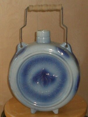 """Vintage Blue & White Bardwell""""s Root Beer Pottery Canteen"""