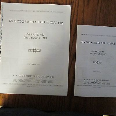 Booklet Size-Mimeograph Duplicator Operating Instructions For Models 91 + 92