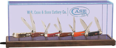 Case XX Illuminated Dome 6 Folding Knife Display Wooden Base Box Logo 22850