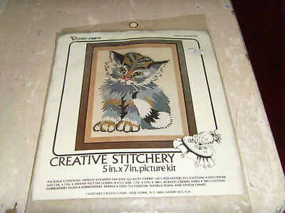 "New Vogart NOS Creative Stitchery gray cat kitten 5x7"" crewel embroidery kit"