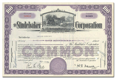 Studebaker Corporation Stock Certificate (First Studebaker Shop Vignette)