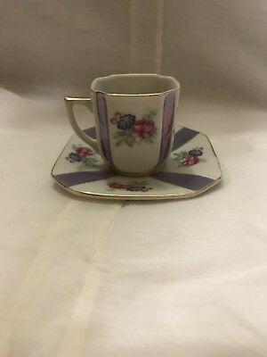 vintage floral purple demitasse tea cup and saucer