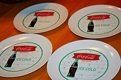 "Coca Cola Set of 4 Plastic Type Plates-Approx 8.75"" Diameter/Used-Sold As Is"