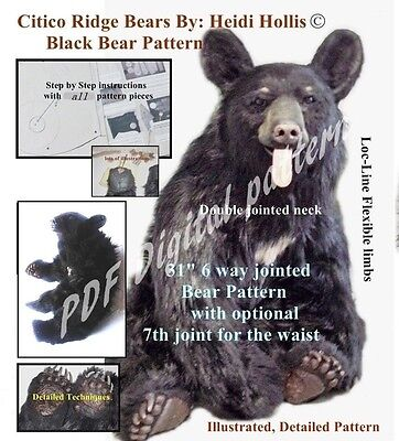 PDF artist PRINTABLE sewing craft PATTERN JOINTED BEAR SEWING citico ridge bears