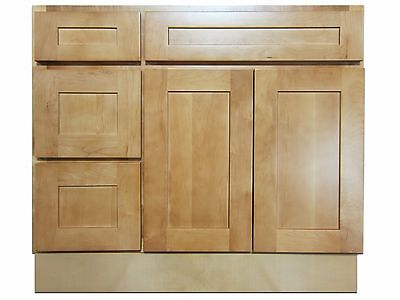Kingway 36 Inch Vanity Cabinet With Left Drawers Elegant Maple