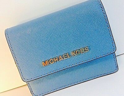 8a94b583a Nwt Michael Kors Jet Set Travel Leather Card Case Id Key Holder In Sky Blue  Gold