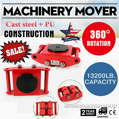 Industrial Machinery Mover 6T/13,200Lb. 360 Degree Rotation Dolly Skate 4-Roller